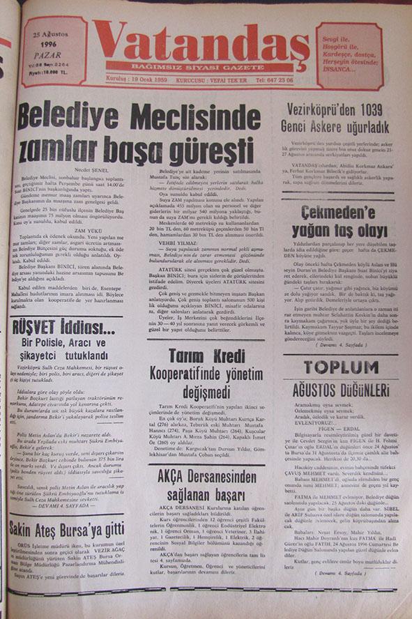 """""""VATANDAŞ"""" Gözünden 20 yıl önce Vezirköprü – 25 Ağustos 1996  Pazar"""