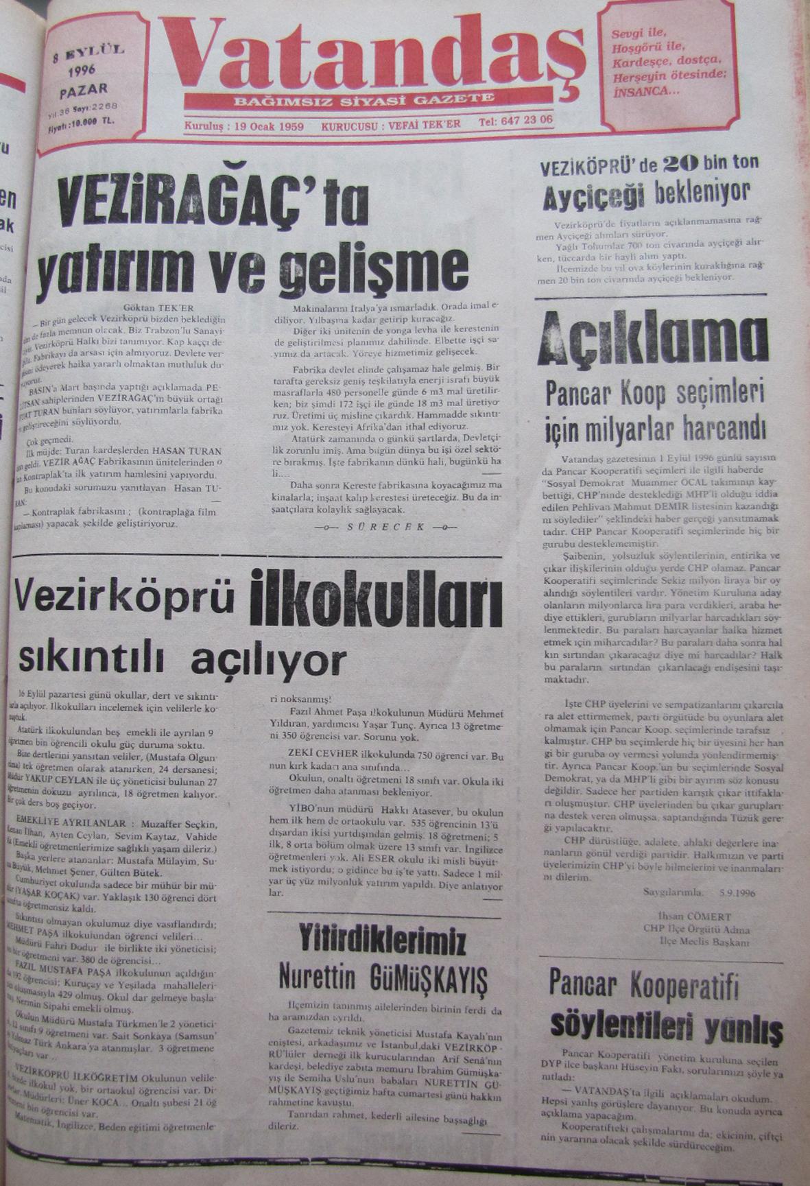 20 yıl önce Vezirköprü – 01 Eylül 1996  Pazar