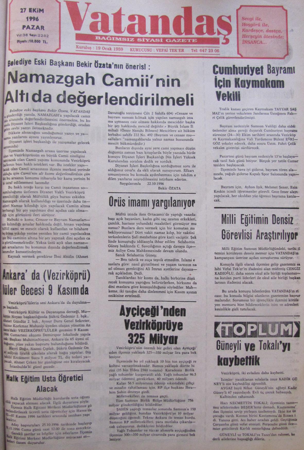 20 YIL ÖNCE – 27 Ekim 1996