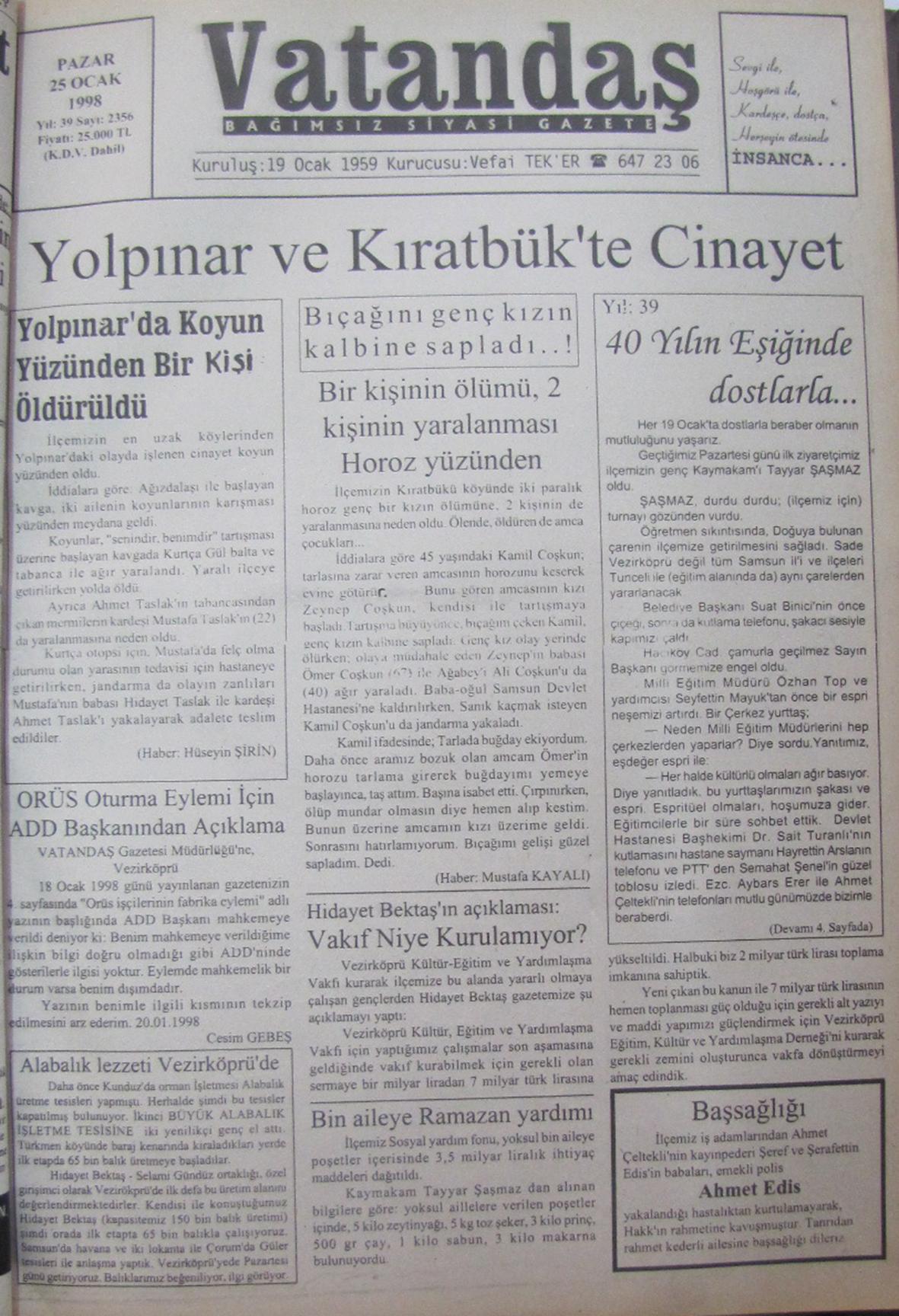 20 Yıl Önce – 25 Ocak 1998