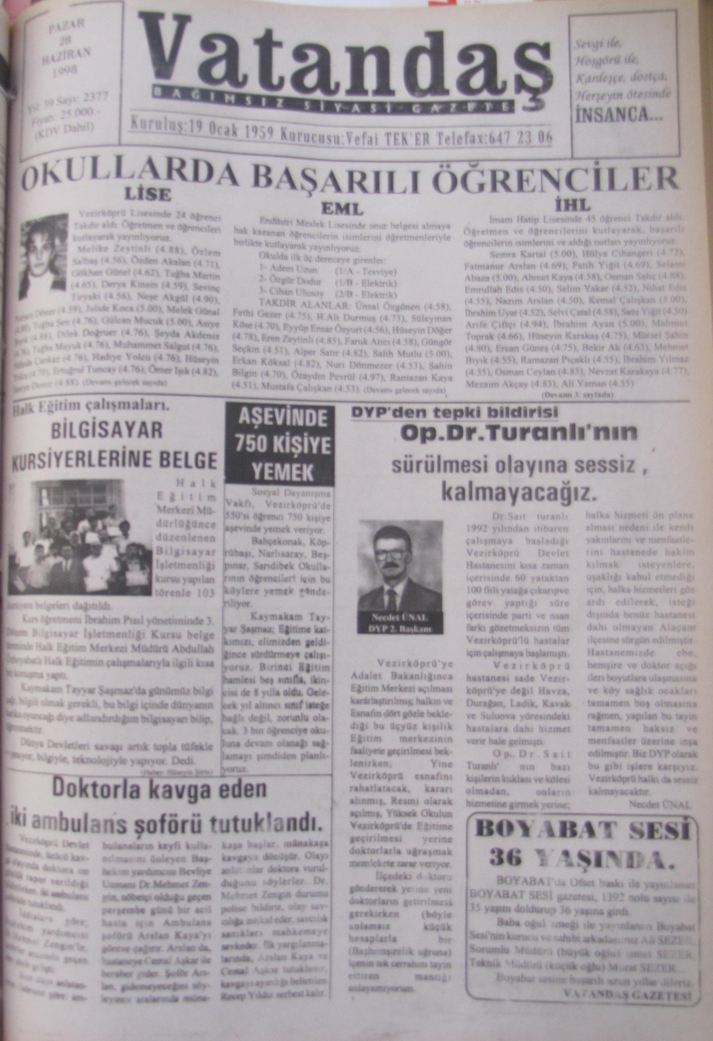28 Haziran 1998  Pazar Okullarda Başarılı Öğrenciler