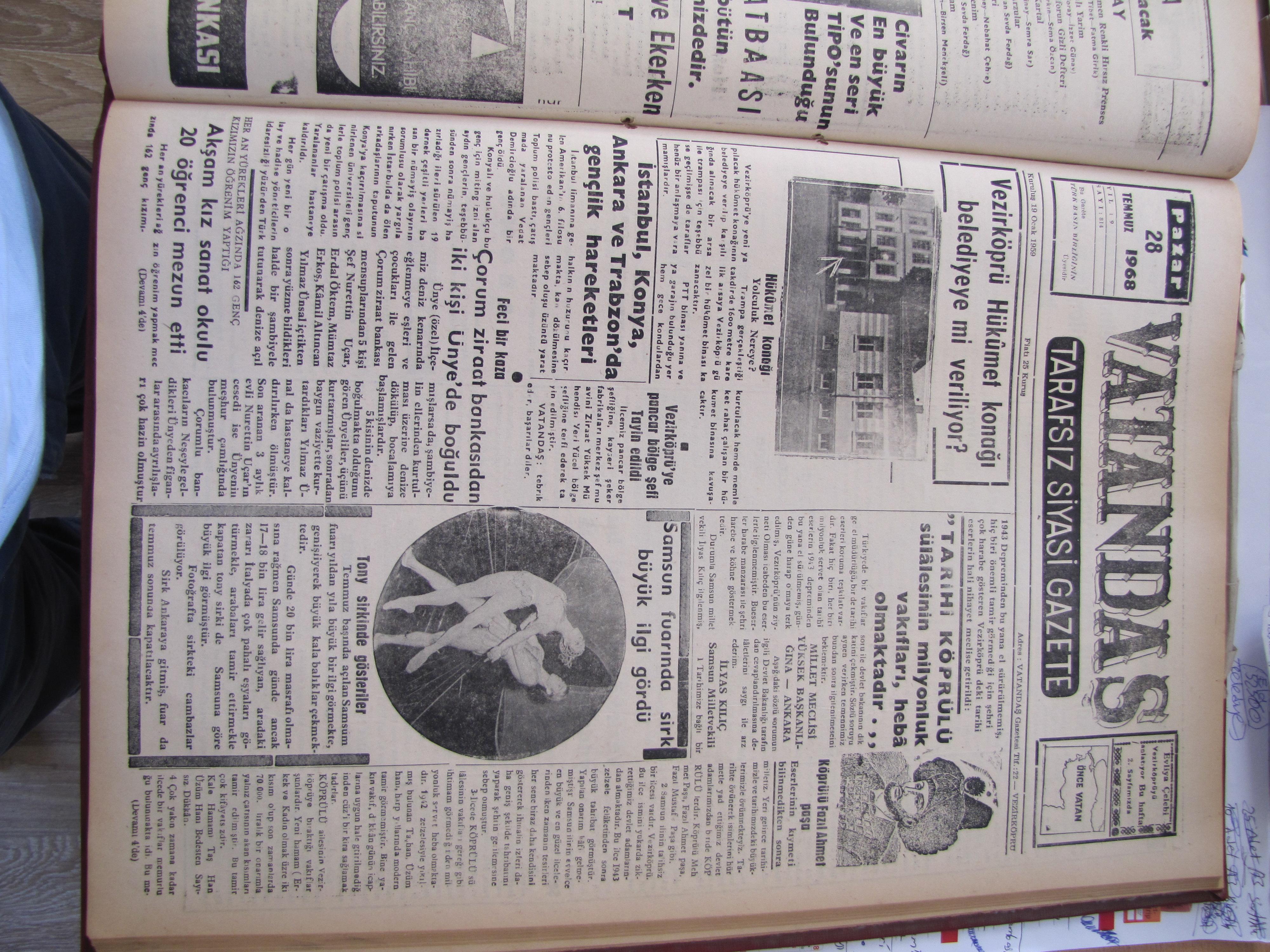 Vezirköprü Hükümet Konağı Belediyeye mi veriliyor? 28 Temmuz 1968 Pazar