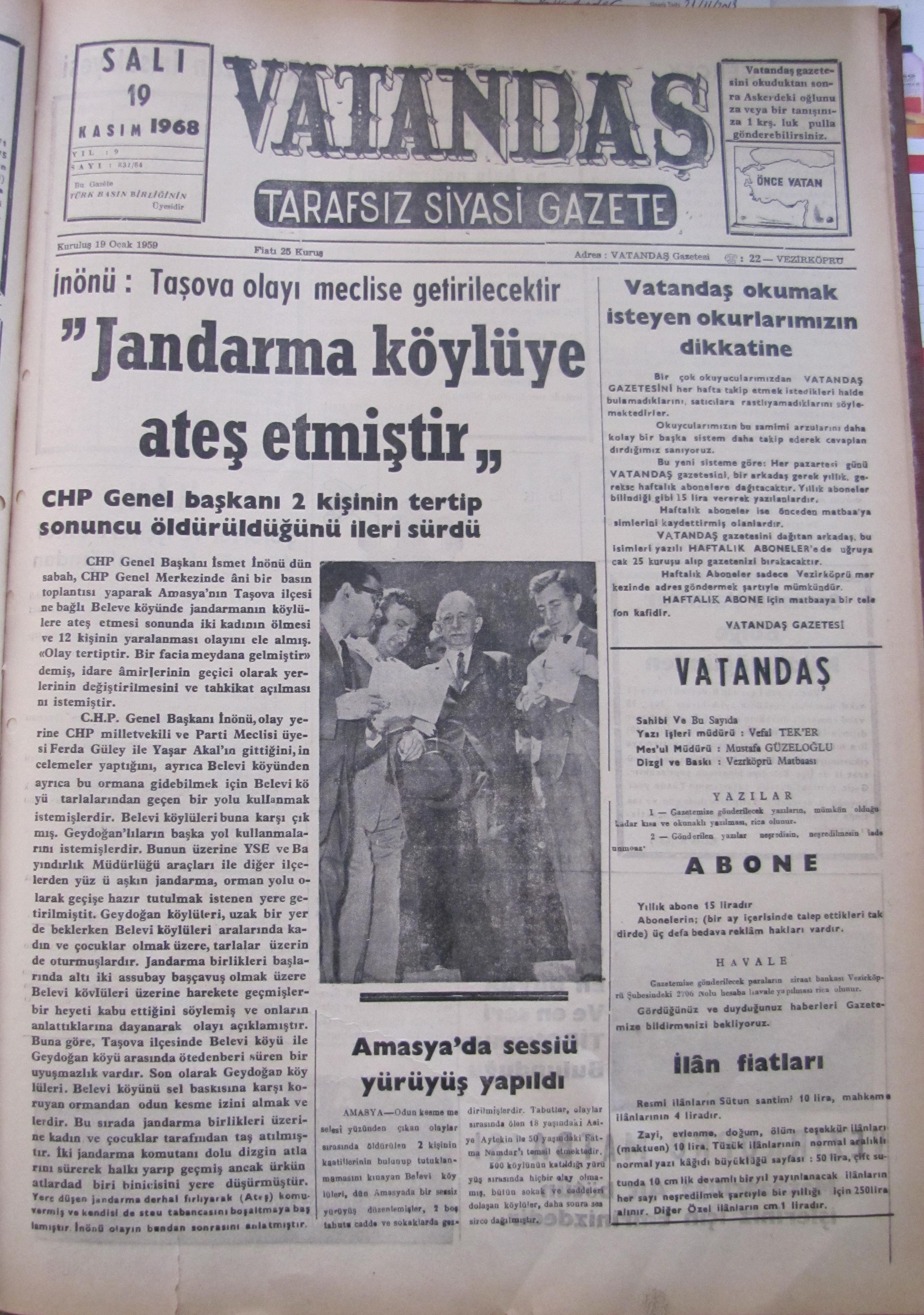 """İnönü: Taşova olayı meclise getirilecektir """"Jandarma Köylüye Ateş Etmiştir"""" 19 Kasım 1968 Salı"""