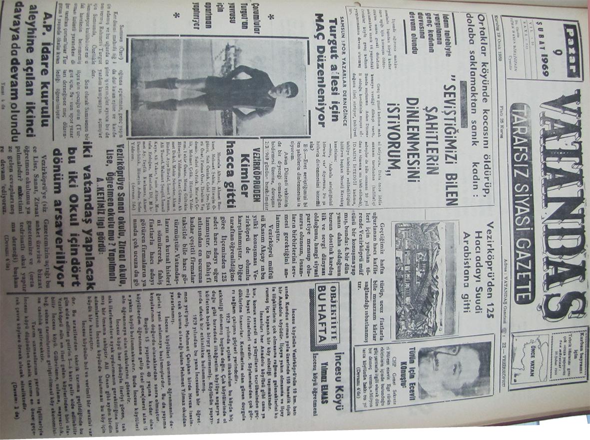 """Ortaklar köyünde kocasını öldürüp, dolaba saklamaktan sanık kadın: """"Seviştiğimizi Bilen Şahitlerin Dinlenmesini İstiyorum"""" 9 Şubat 1969"""