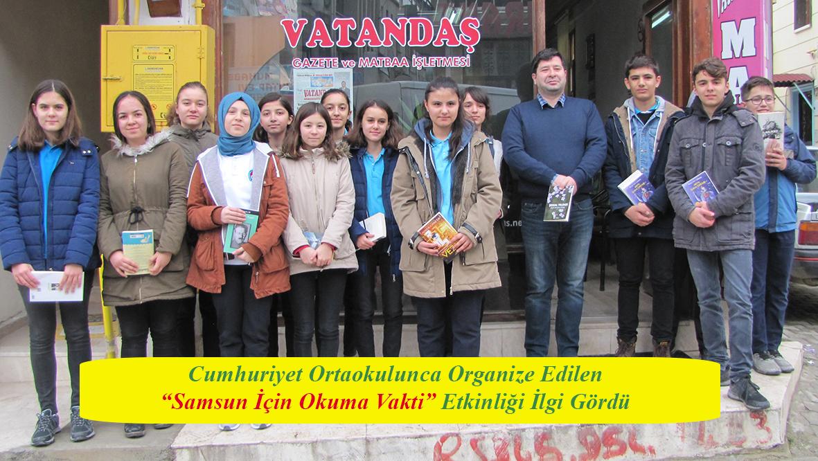 """Cumhuriyet Ortaokulunca Organize Edilen """"Samsun İçin Okuma Vakti"""" Etkinliği İlgi Gördü"""