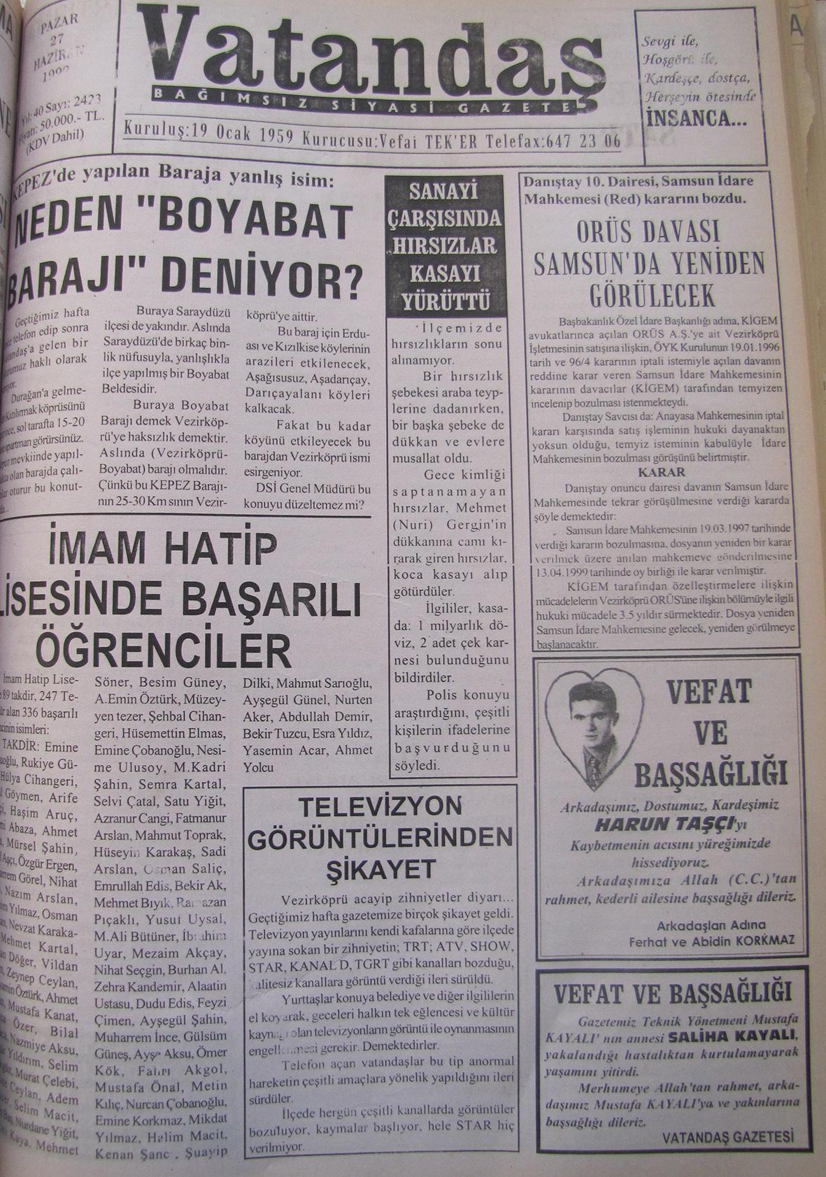"""KEPEZ'de yapılan Baraja yanlış isim: Neden """"Boyabat Barajı"""" Deniyor 27 Haziran 1999 Pazar"""