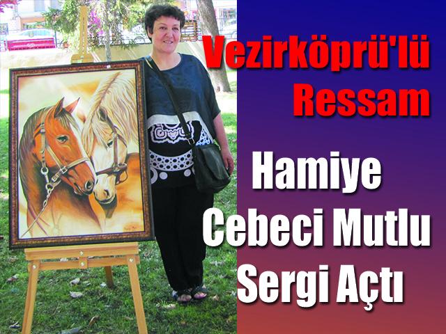 Vezirköprü'lü Ressam Hamiye Cebeci Mutlu Sergi Açtı