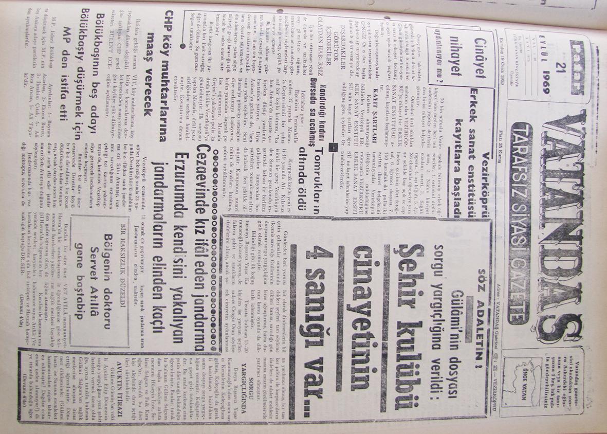 Cinayet Nihayet Aydınlanıyor Mu? 21 Eylül 1969 Pazar