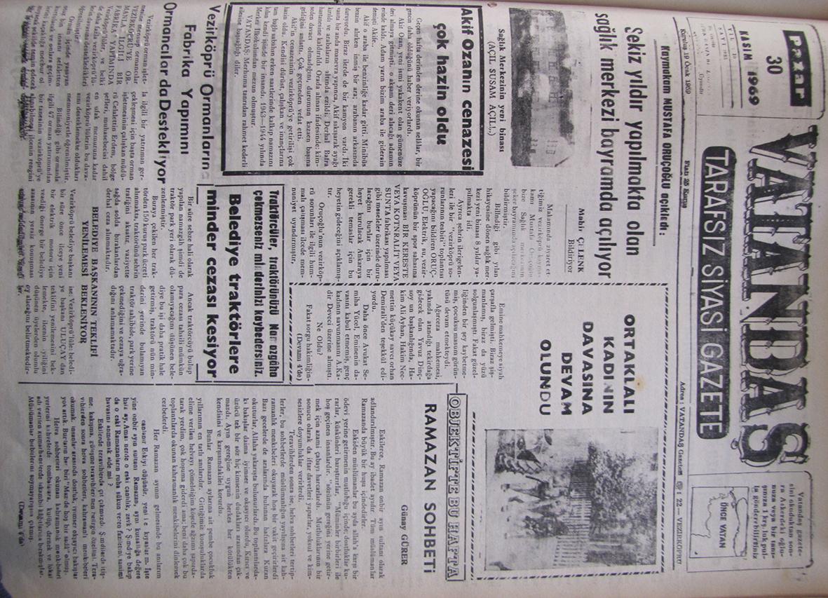 Kaymakam Mustafa Oruçoğlu açıkladı: Sekiz Yıldır Yapılmakta Olan Sağlık Merkezi Açılıyor 30 Kasım 1969 Pazar