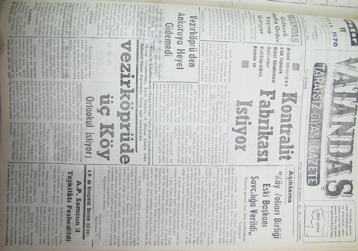 Orman Bakanlığı'nın Etüd yapacak heyet göndermesi bekleniyor, Vezirköprülüler, Kereste ve Kontralit Fabrikası İstiyor 11 Ocak 1970 Pazar