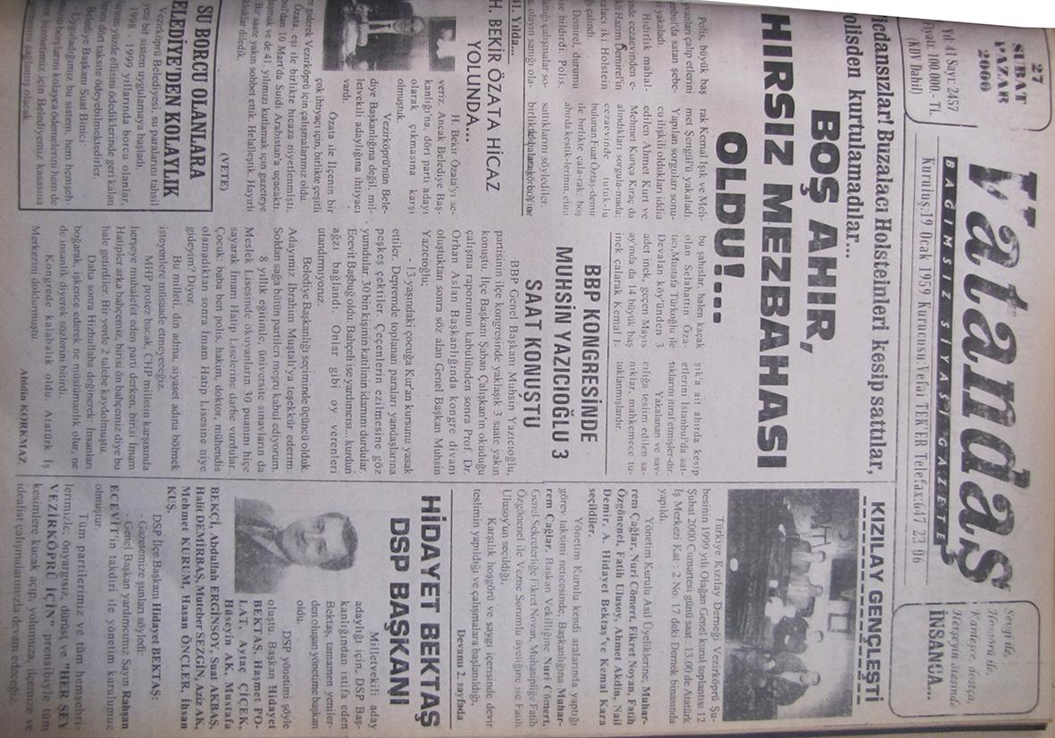Vicdansızlar! Buzalacı Holsteinleri  kesip sattılar, polisten kurtulamadılar…Boş Ahır, Hırsız Mezbahası Oldu!… 27 Şubat 2000 Pazar