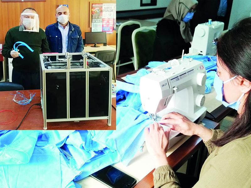 Halk Eğitimi Merkezi ve  Mesleki Teknik Anadolu Lisesi Coronavirüs'e Karşı  Maske Üretimine Başladı