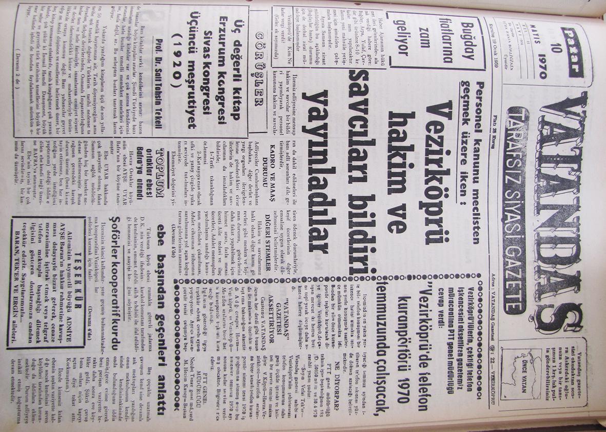 Personel kanunu meclisten geçmek üzere iken: Vezirköprü Hakim ve Savcıları Bildiri Yayınladılar 10 Mayıs 1970 Pazar