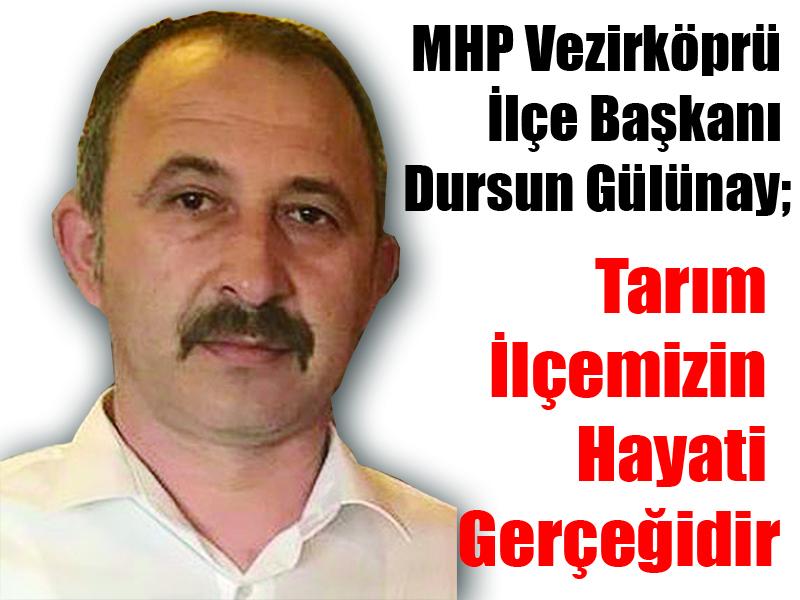 MHP Vezirköprü İlçe Başkanı Dursun Gülünay; Tarım İlçemizin Hayati Gerçeğidir