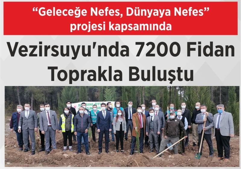 """""""Geleceğe Nefes, Dünyaya Nefes"""" projesi kapsamında Vezirsuyu'nda 7200 Fidan Toprakla Buluştu"""