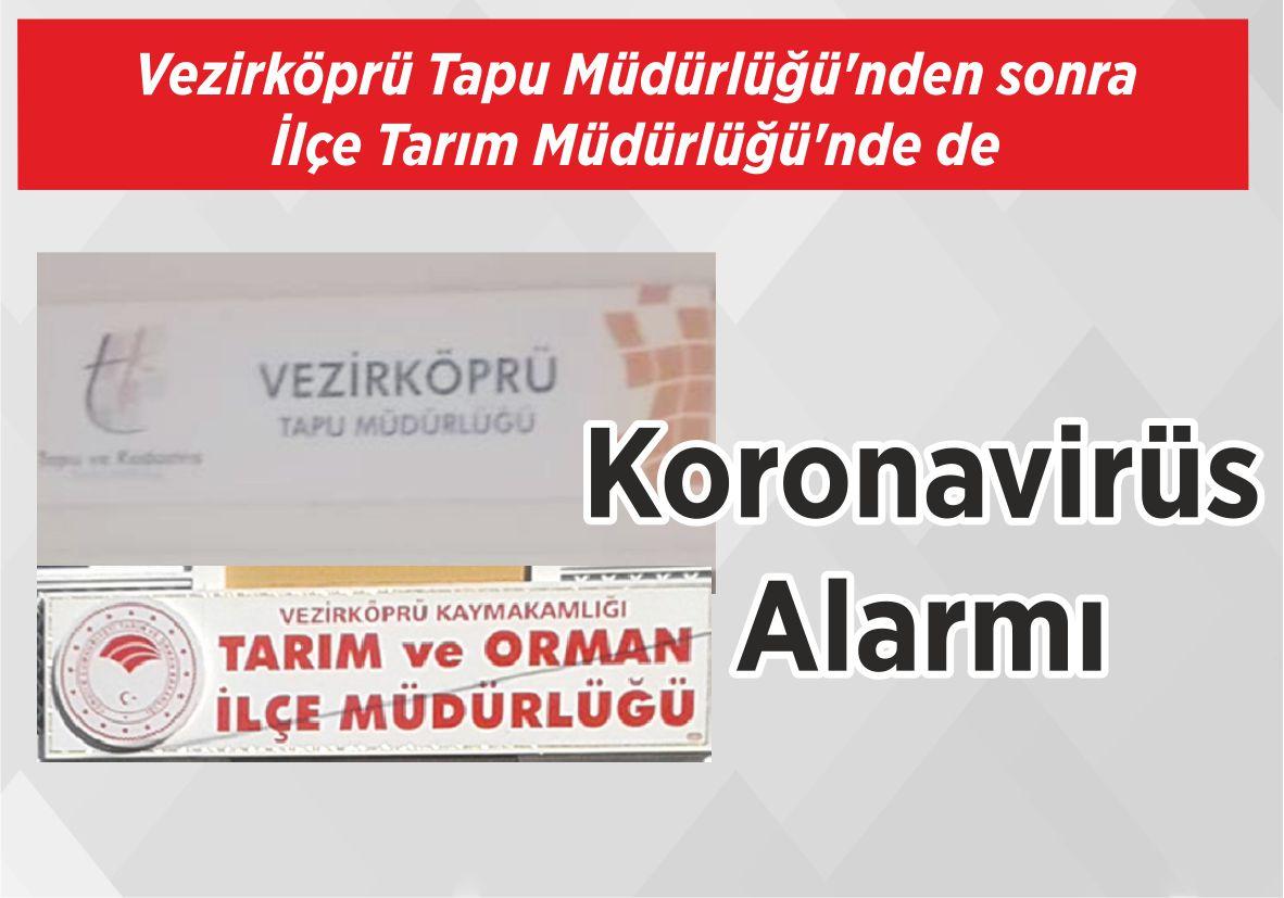 Vezirköprü Tapu Müdürlüğü'nden sonra İlçe Tarım Müdürlüğü'nde de Koronavirüs Alarmı