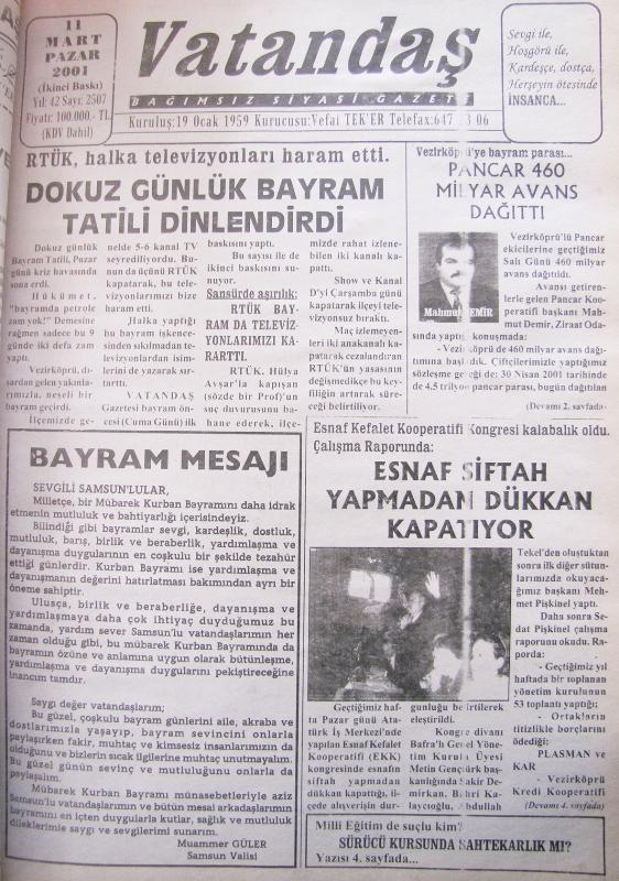 RTÜK, halka televizyonları haram etti. Dokuz Günlük Bayram Tatili Dinlendirdi 11 Mart 2001 Pazar