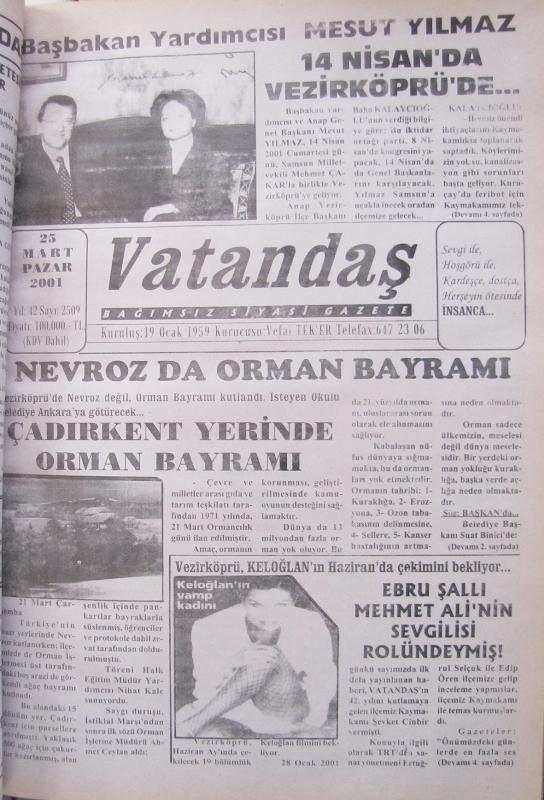 Başbakan Yardımcısı Mesut Yılmaz 14 Nisan'da Vezirköprü'de 25 Mart 2001  Pazar