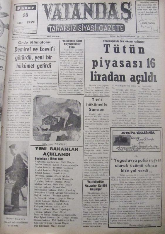 Ordu ültimatomu Demirel ve Ecevit'i Götürdü, Yeni Bir Hükümet Getirdi 28 Mart 1971 Pazar