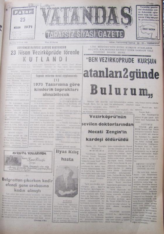 Egemenlik kayıtsız şartsız ulusundur 23 Nisan Vezirköprü'de Törenle Kutlandı 25 Nisan 1971 Pazar