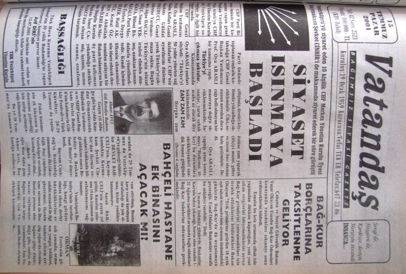 Vezirköprü'yü ziyaret eden 10 kişilik CHP Merkez Yönetim Kurulu üyesi Kaymakam  Şevket Cinbir'i de makamında ziyaret ederek bir süre görüştü. Siyaset Isınmaya Başladı 15 Temmuz 2001 Pazar