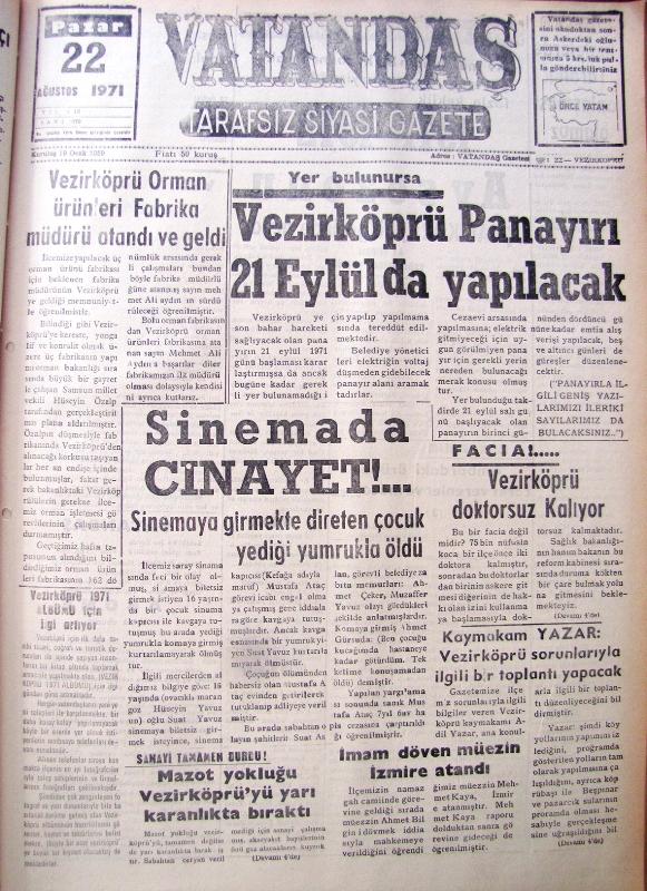 Yer bulunursa Vezirköprü Panayırı 21 Eylül'de Yapılacak 22 Ağustos 1971 Pazar