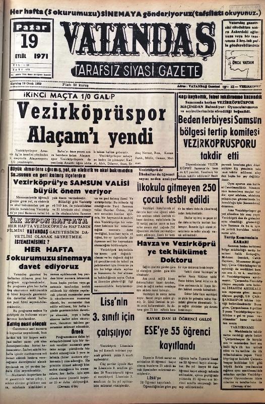 İkinci maçta 1/0 galip Vezirköprüspor Alaçam'ı Yendi 19 Eylül 1971 Pazar